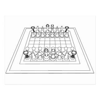 Pièces d'échecs d'échiquier et : carte postale