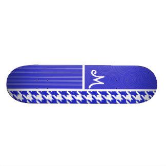 Pied-de-poule bleu et blanc plateaux de skateboards