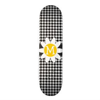 Pied-de-poule noir et blanc Marguerite de resso Skateboards Customisés