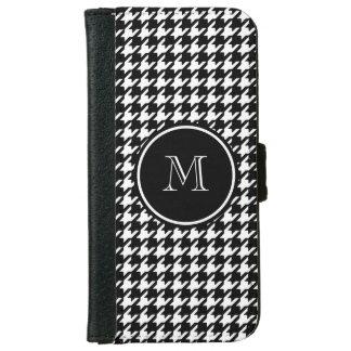 Pied-de-poule noir et blanc votre monogramme coque avec portefeuille pour iPhone 6