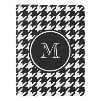 Pied-de-poule noir et blanc votre monogramme protège-carnet x-large