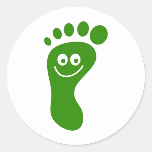 Pied vert heureux adhésifs ronds