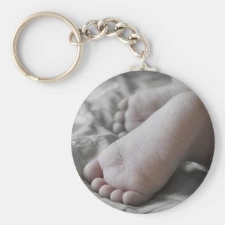 Pieds de bébé porte-clé rond