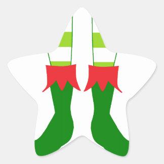 Pieds mignons d'Elf de Noël Sticker Étoile