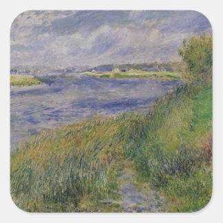 Pierre banques de Renoir un | de la Seine, Sticker Carré