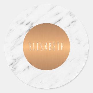 Pierre de marbre blanche avec le cercle de cuivre sticker rond