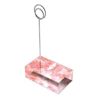 Pierre de marbre nuageuse rose de pêche porte-cartes de  table