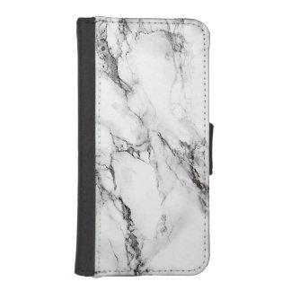 Pierre de marbre rayée blanche coques avec portefeuille pour iPhone 5