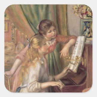 Pierre jeunes filles de Renoir un | au piano Sticker Carré
