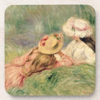 Pierre jeunes filles de Renoir un | sur la berge Dessous-de-verre