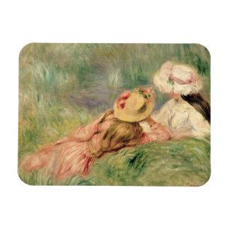 Pierre jeunes filles de Renoir un   sur la berge Magnet Rectangulaire Avec Photo