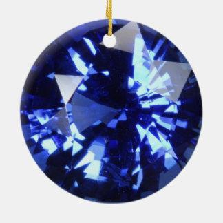 Pierre porte-bonheur bleu-foncé de septembre de ornement rond en céramique