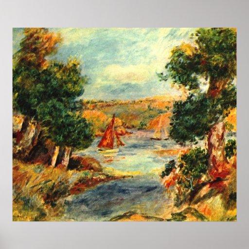 Pierre Renoir - bateaux à voile dans Cagnes Affiche