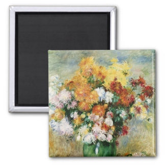 Pierre un bouquet de Renoir   des chrysanthèmes Magnet Carré