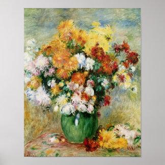 Pierre un bouquet de Renoir | des chrysanthèmes Poster