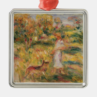 Pierre un paysage de Renoir   avec l'épouse de Ornement Carré Argenté