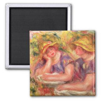 Pierre un Renoir   deux femmes dans des chemisiers Magnet Carré