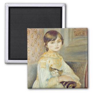 Pierre un Renoir   Julie Manet avec le chat Magnet Carré