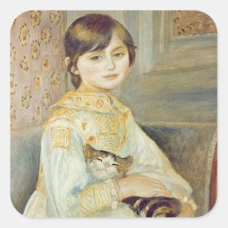 Pierre un Renoir | Julie Manet avec le chat Sticker Carré