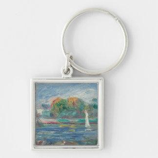 Pierre un Renoir   la rivière bleue Porte-clé Carré Argenté
