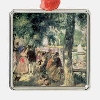 Pierre un Renoir   se baignant sur la Seine Ornement Carré Argenté
