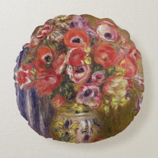 Pierre un vase à Renoir   de tulipes et d'anémones Coussins Ronds
