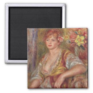 Pierre une femme blonde de Renoir   avec un rose Magnet Carré