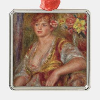 Pierre une femme blonde de Renoir | avec un rose Ornement Carré Argenté