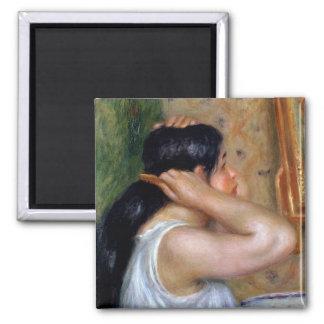 Pierre une fille de Renoir   se peignant les Magnet Carré