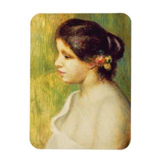 Pierre une jeune femme de Renoir   avec des fleurs Magnets Rectangulaire