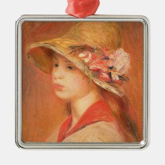 Pierre une jeune femme de Renoir | dans un Ornement Carré Argenté