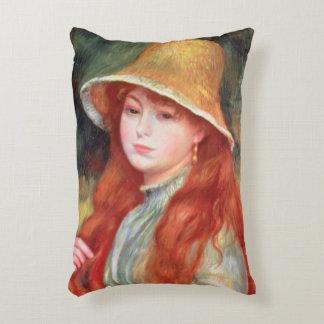Pierre une jeune fille de Renoir | dans un chapeau Coussins Décoratifs