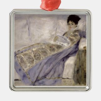 Pierre une Madame Monet de Renoir | sur un sofa Ornement Carré Argenté