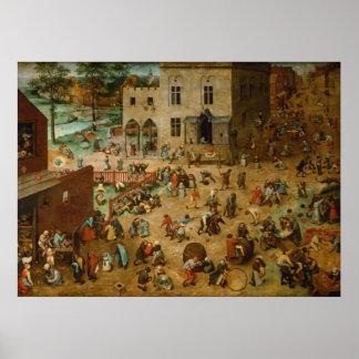 Pieter Bruegel l'aîné - les jeux des enfants Posters