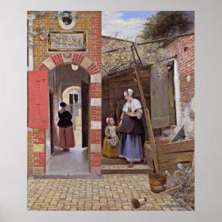 Pieter de Hooch - cour d'une Chambre à Delft Poster