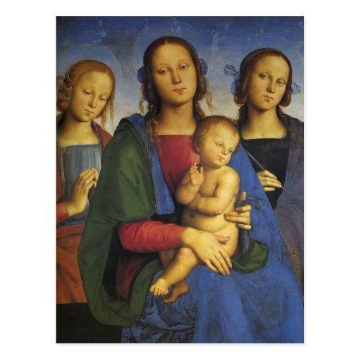 Pietro Perugino-Madonna et enfant avec St Catherin Cartes Postales
