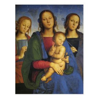 Pietro Perugino-Madonna et enfant avec St Catherin Carte Postale