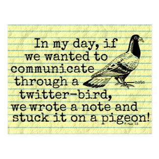 Pigeon drôle d'oiseau de gazouillement de cartes postales