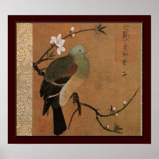 Pigeon sur le floral japonais vintage de pêcher posters
