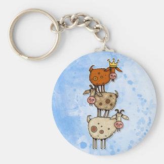 pile de chèvre porte-clé rond
