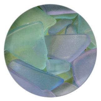 Pile de verre bleu de plage, Alaska Assiette