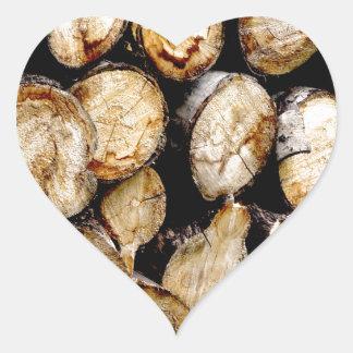 Pile des rondins sticker cœur
