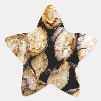 Pile des rondins sticker étoile
