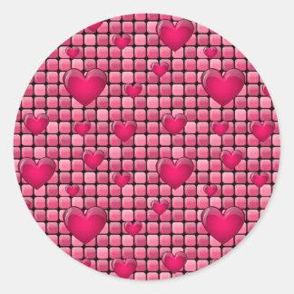 Pile rose avec des coeurs sticker rond