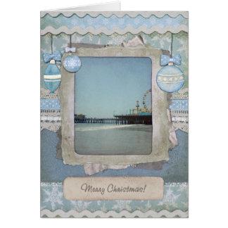 Pilier bleu de Santa Monica de Joyeux Noël Carte De Vœux