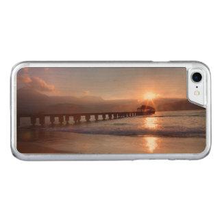 Pilier de plage au coucher du soleil, Hawaï Coque Iphone 7 En Bois