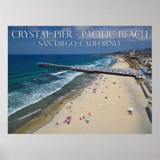 Pilier en cristal, plage Pacifique Poster