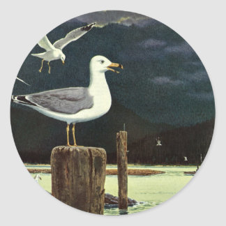 Pilier été perché par mouette vintage, animaux sticker rond