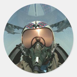 Pilote de l'Armée de l'Air Sticker Rond