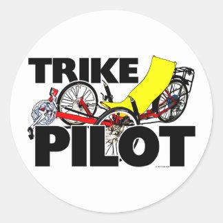 Pilote de tricycle sticker rond